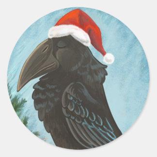 Santa Hat Raven Classic Round Sticker