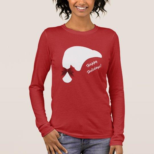 Santa Hat Red Bow Happy Holidays Long Sleeve T-Shirt