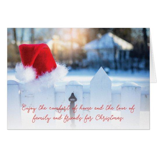 Santa Hat Scenic Holiday Blank Greeting Card