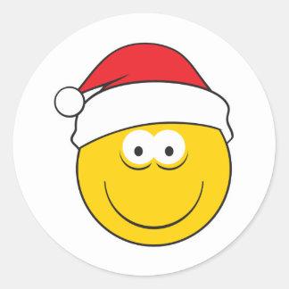 Santa Hat Smiley Face Round Sticker