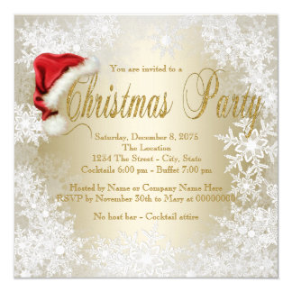 Santa Hat Snowflake Christmas Party 13 Cm X 13 Cm Square Invitation Card
