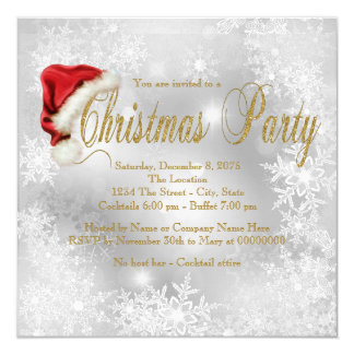 Santa Hat Snowflake Christmas Party 13 Cm X 13 Cm Square Invitation Card