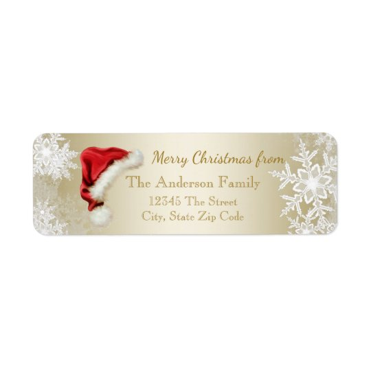 Santa Hat Snowflake Christmas Return Address