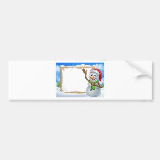 Santa Hat Snowman Cartoon Christmas Sign Bumper Sticker