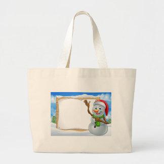 Santa Hat Snowman Cartoon Christmas Sign Large Tote Bag
