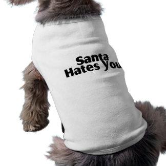 Santa Hates You Sleeveless Dog Shirt