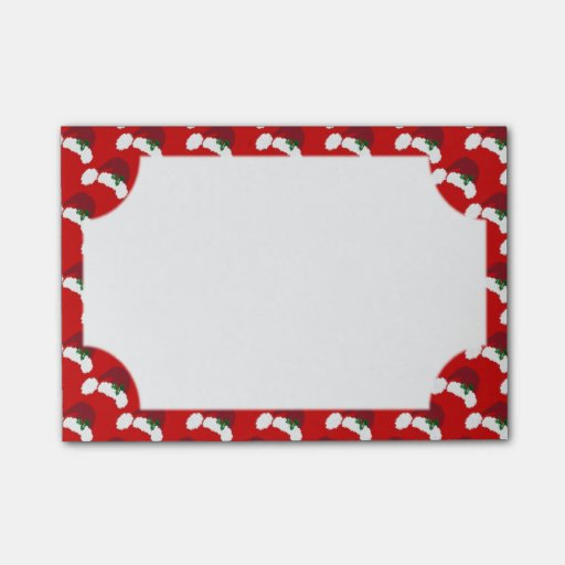 Santa Hats with Holly 4 x 3 Post It Notes Post-it® Notes
