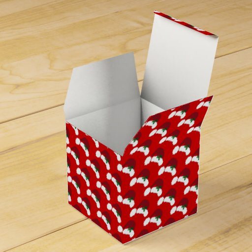 Santa Hats with Holly Classic Square Favor Box