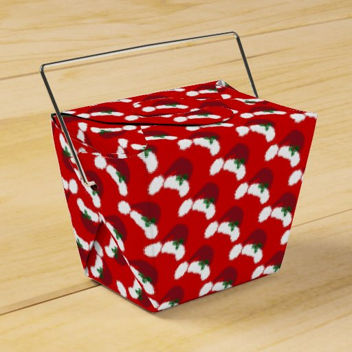 Santa Hats with Holly Take Out Favor Box