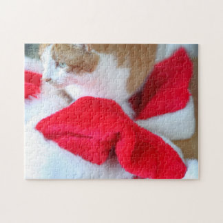 Santa hats with orange and white cat jigsaw puzzle