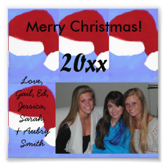 Santa Hats with Personalized Text & Image Cards Photographic Print