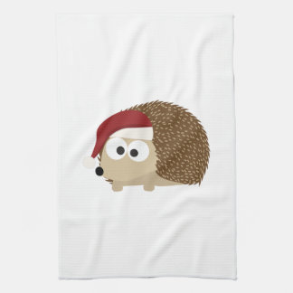Santa hedgehog tea towel