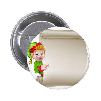 Santa Helper Elf Christmas Scroll 6 Cm Round Badge