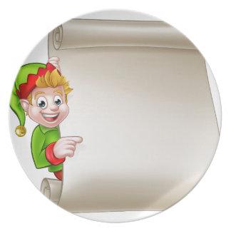 Santa Helper Elf Christmas Scroll Dinner Plate