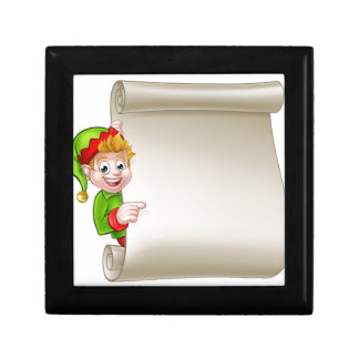 Santa Helper Elf Christmas Scroll Gift Box