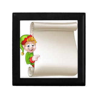 Santa Helper Elf Christmas Scroll Small Square Gift Box