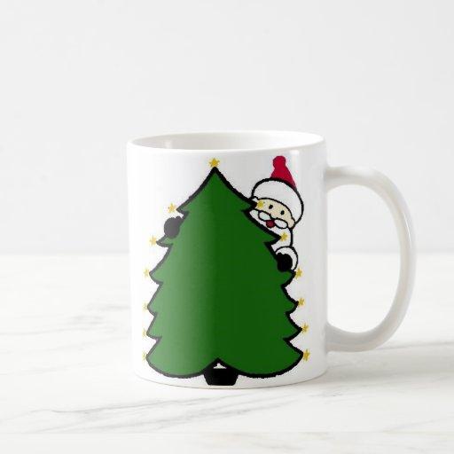 Santa Hides Behind Christmas Tree Coffee Mugs