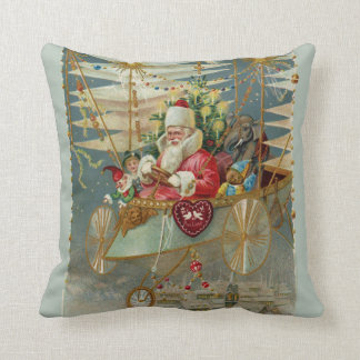 Santa & His Amazing Flying Machine Throw Pillow
