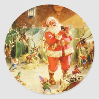 Santa & His Elves in the North Pole Stables Classic Round Sticker