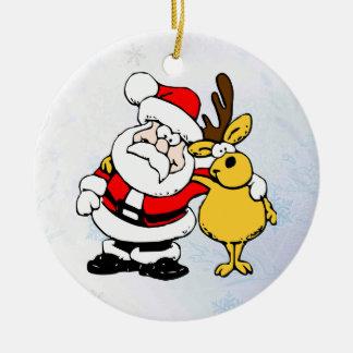 Santa & His Reindeer Christmas Ornaments