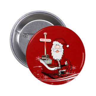 Santa & His Sleigh Christmas 6 Cm Round Badge