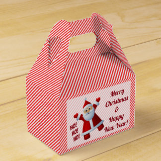 Santa Ho! Ho! Ho! Candy Cane Stripes Customise Favour Box