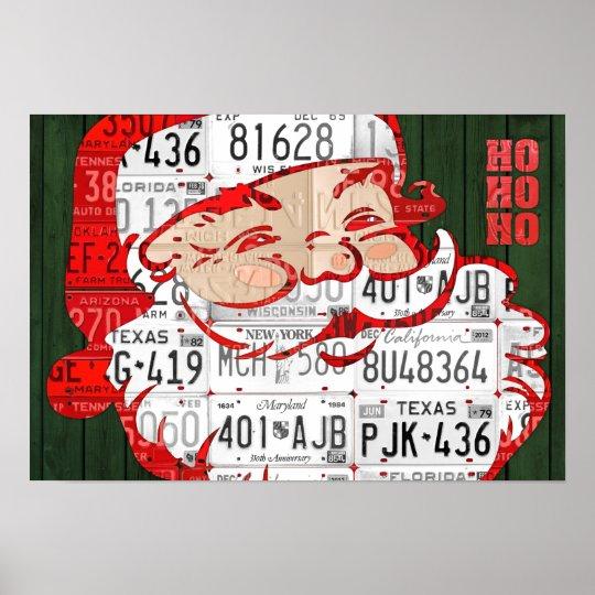 Santa Ho Ho Ho Recycled Vintage License Plate Art Poster