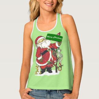 Santa Holding Green Christmas Sign Tree animals Tank Top
