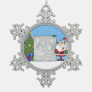 Santa Holding Photo Snowflake Pewter Christmas Ornament