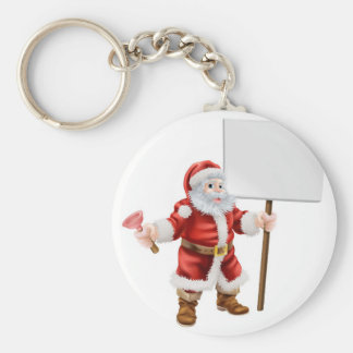 Santa holding plunger and sign keychain
