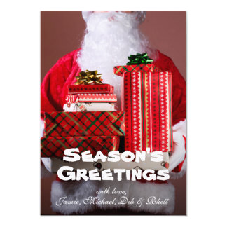 Santa holding stack of Christmas presents 13 Cm X 18 Cm Invitation Card
