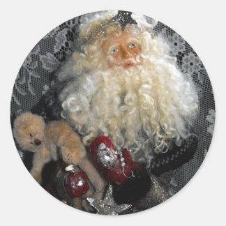 Santa Holding Toys Round Sticker