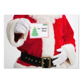 Santa holding up card 13 cm x 18 cm invitation card