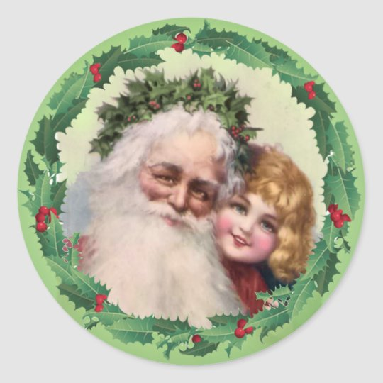 SANTA HOLLY GIRL by SHARON SHARPE Classic Round Sticker