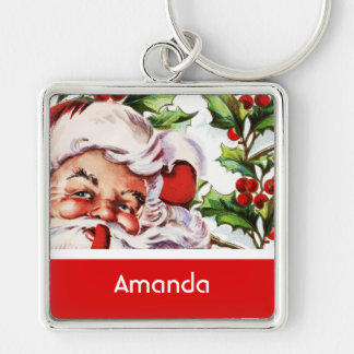 Santa holly mistletoe vintage PERSONALIZE Silver-Colored Square Key Ring
