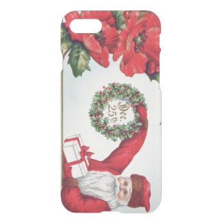 Santa Holly Wreath Poinsettia Present Dec 25th iPhone 7 Case