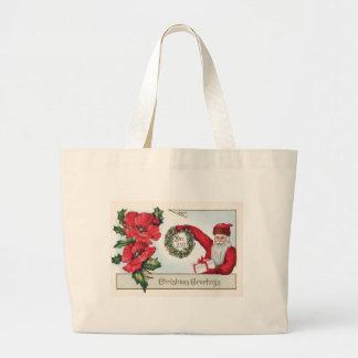 Santa Holly Wreath Poinsettia Present Dec 25th Jumbo Tote Bag