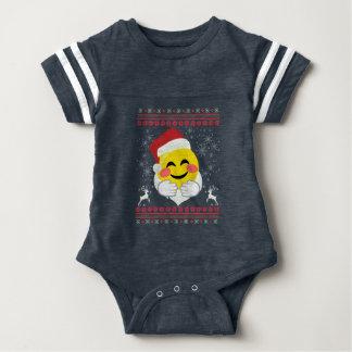 Santa Hug Smiley Emoji Ugly Christmas Baby Bodysuit