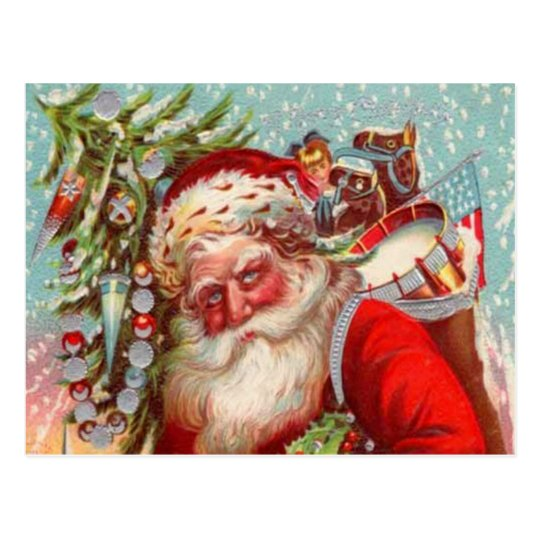 Santa Hugging Children Postcard