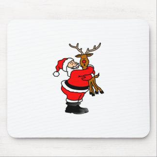 Santa Hugging Reindeer Mouse Pad
