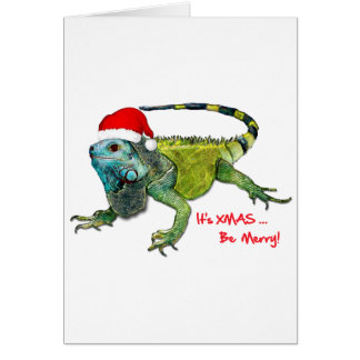 Santa Iguana Greeting Card