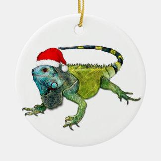 Santa Iguana Round Ceramic Decoration