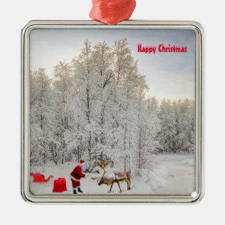 Santa image for Premium-Square-Ornament Christmas Ornament