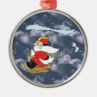 Santa in a Helicopter Ornament