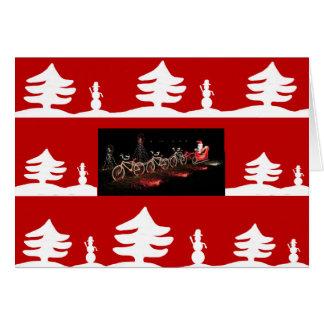 Santa in a sleigh bicycle christmas card