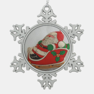 Santa in a Sleigh Pewter Ornament