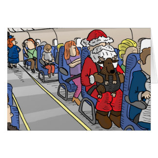 Santa in Airplane Greeting Card