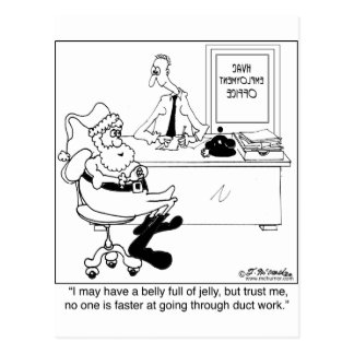 Santa in an Heating & Air Employment Office Postcard
