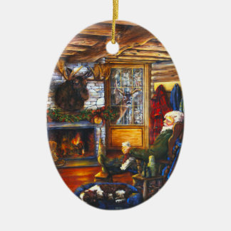 Santa In Cabin | Rustic Christmas Holiday Tree Ceramic Oval Decoration