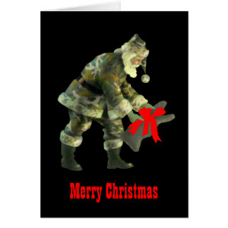 Santa in Camouflage Greeting Card